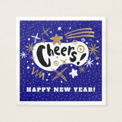Modern Gold Star Cheers! New Year's Eve Paper Napkin | Zazzle.com #papernapkins