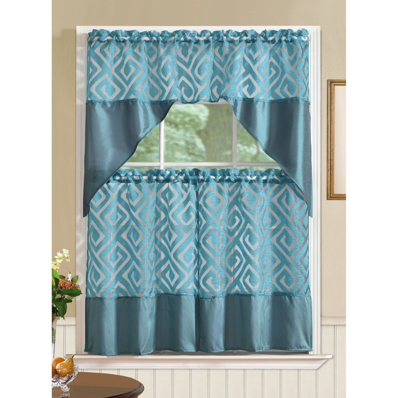 RT Designers Collection Riviera Printed Faux Silk Tier and Valance ...