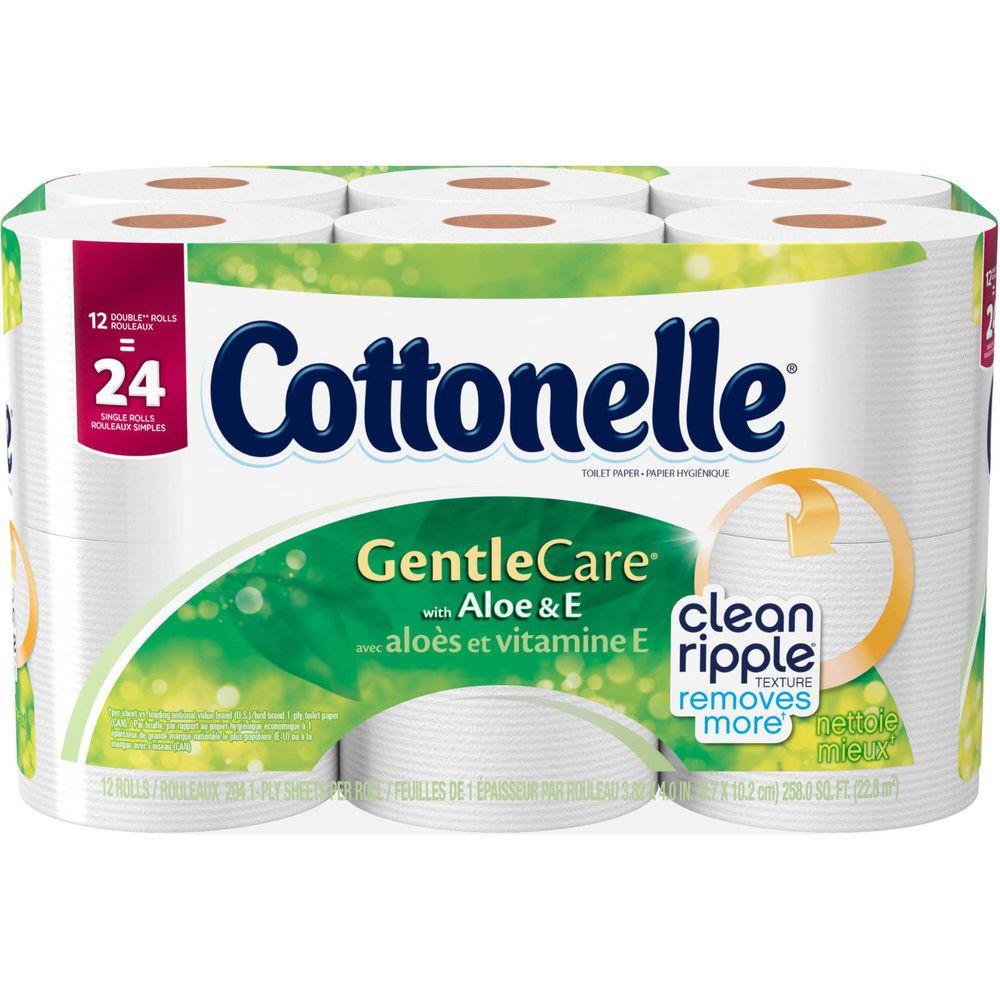 Cottonelle Gentle Care Double Roll Toilet Paper, 204 sheets, 12 rolls w/ Aloe #Cottonelle