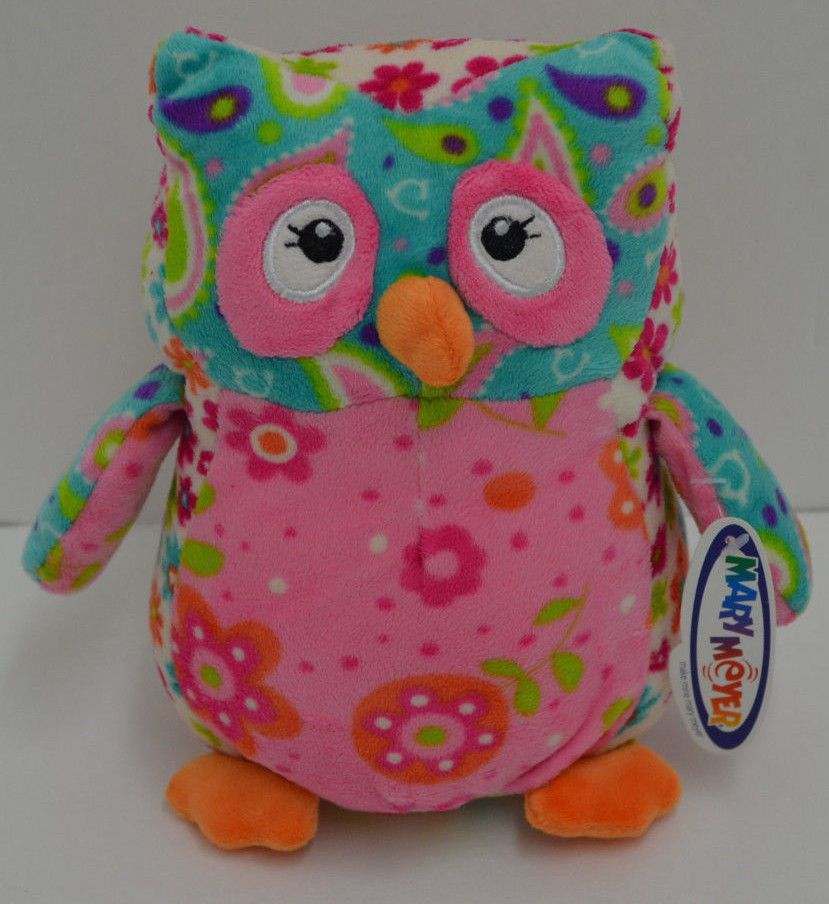 Mary Meyer Floral Owl Plush Blue Pink Stitched Eyes Bean
