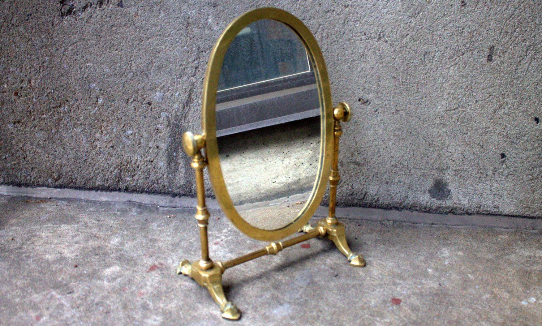 Vintage Brass Vanity Mirror on Swivel Stand (Circa 1940s