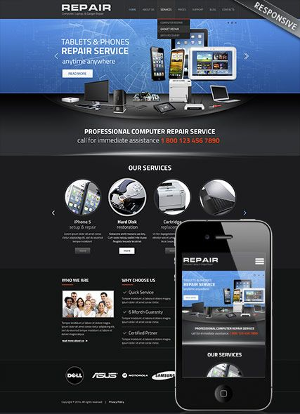 Bootstrap Website Templates Computer Repair Website Template Bootstrap Mobile Responsive