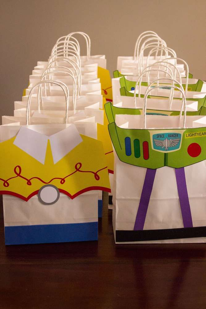 60a9a079360c8 Fun favor bags at a Toy Story birthday party! See more party ideas at  CatchMyParty.com!