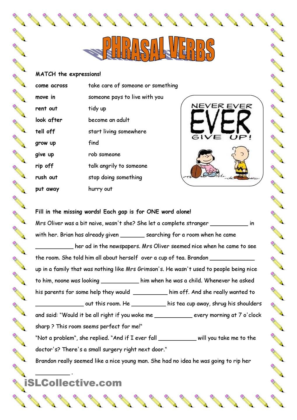 Phrasal V Match And Fill In English Worksheets For Kids Learn English English Writing Skills [ 1440 x 1018 Pixel ]