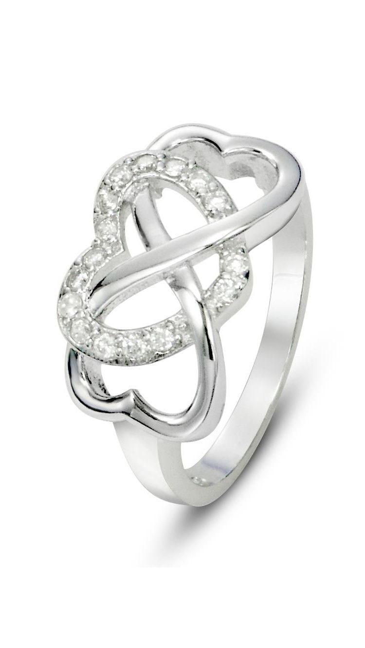 Love With Heart White MoissaniteCZ 925 Sterling Silver Engagement Ring