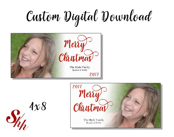 Personalized Boxed Christmas Cards 2020 Custom Christmas Cards Digital Download Personalized 4x8   Etsy in