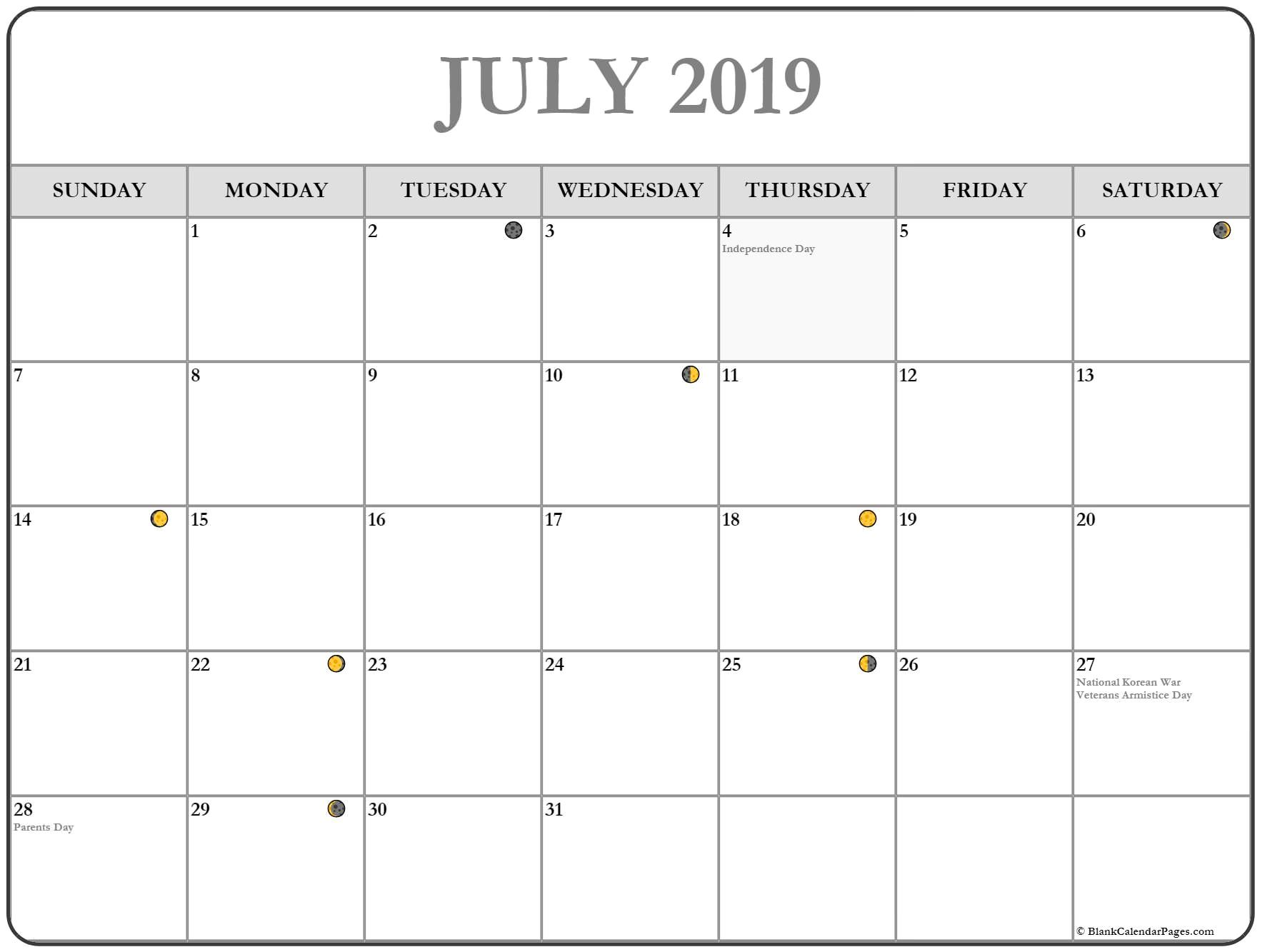 July 2019 Moon Calendar July Calendar Printable Calendar