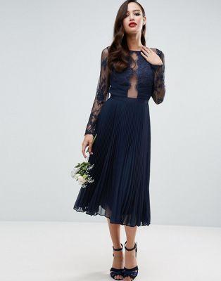 Asos robe bleu dentelle