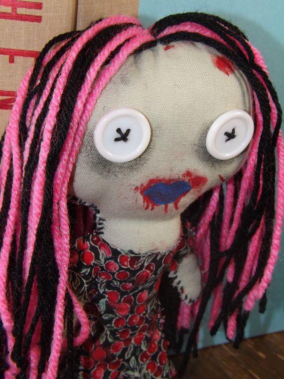 Doreen the Happy Little Zombie Girl Rag Doll by UndeadDreams, $25.00