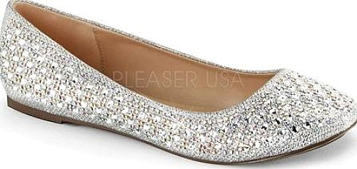 Fabulicious Women's Shoes in Silver Glitter Mesh Fabric Color. Add luxe to  your look with the Treat 06 Ballet Flat from Fabulicious. It features a …