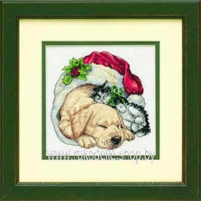Набор для вышивки крестом Dimensions 8826 Любимцы Рождественским утром
