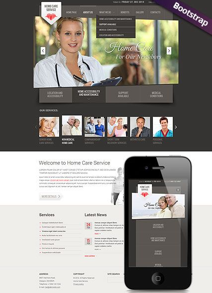Bootstrap Website Templates Home Care Service Website Template Bootstrap Mobile Responsive Web