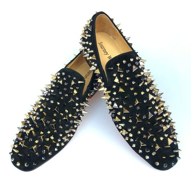 2f4dd240a78d New Handmade Men Black Leather Slippers Loafers Shoes With Gold Spikes Red  Bottom Men s Flats Party Prom Dress shoes Size 7-14