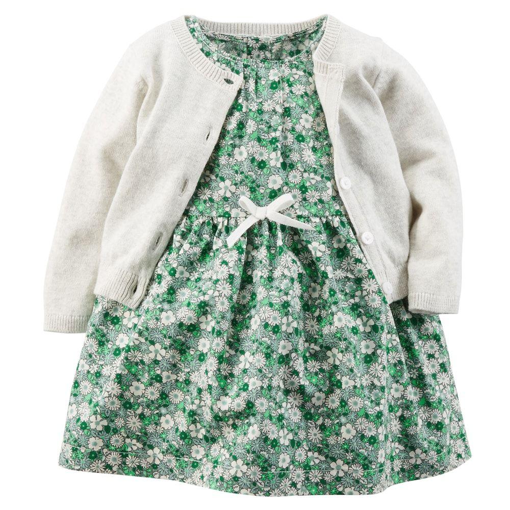 Photo of Baby Girl Carter's Print Dress & Knit Cardigan Set