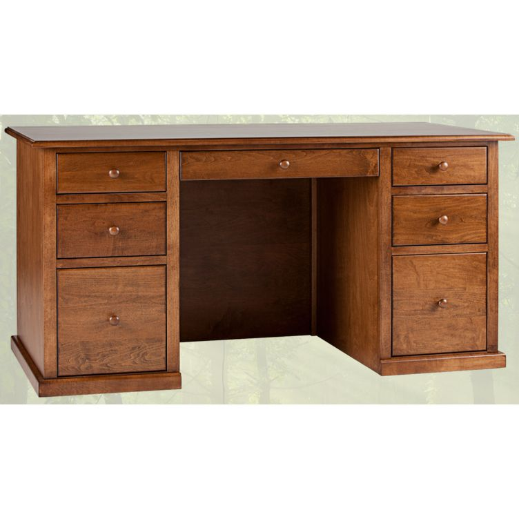 Beau Solid Wood Home Office Desk Traditional Double Pedestal Furniture