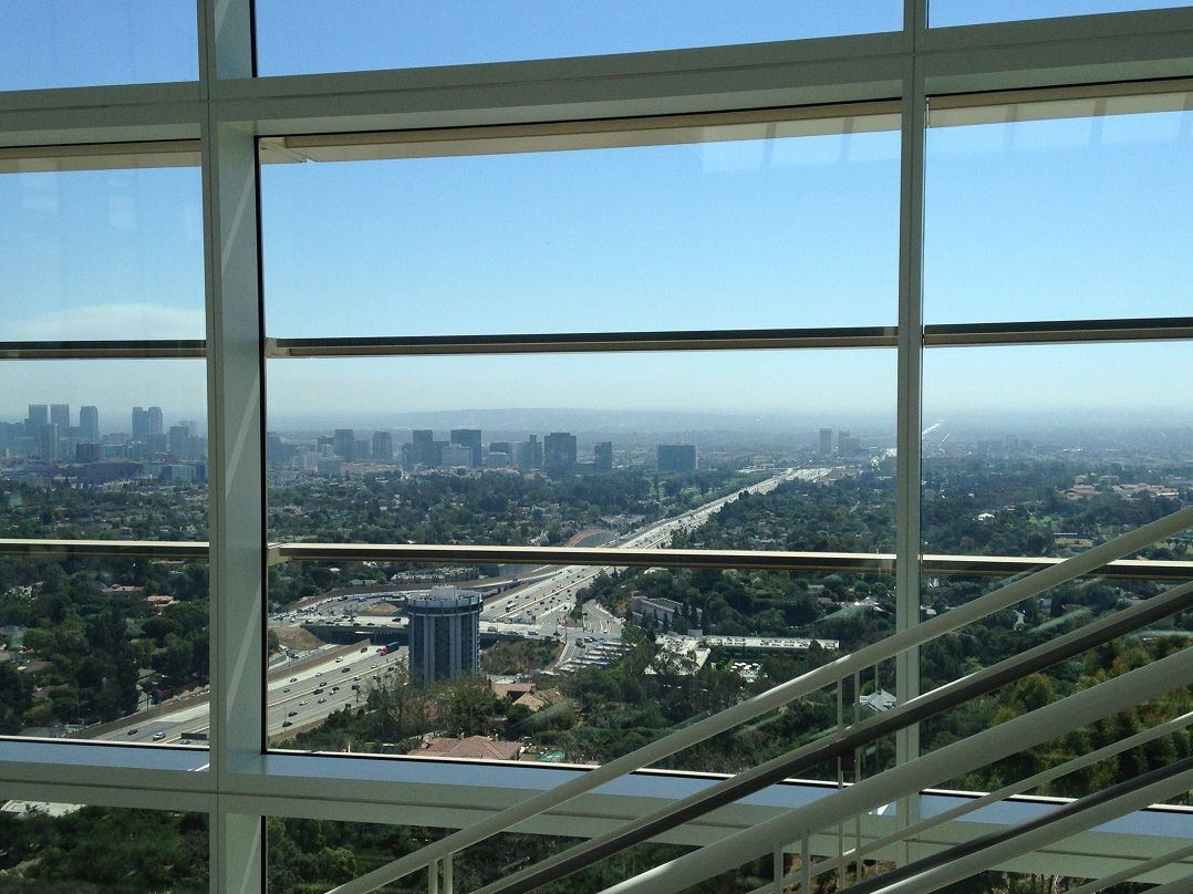 This is from inside a building at the Getty.  A view of the freeway.  Sept. 2014