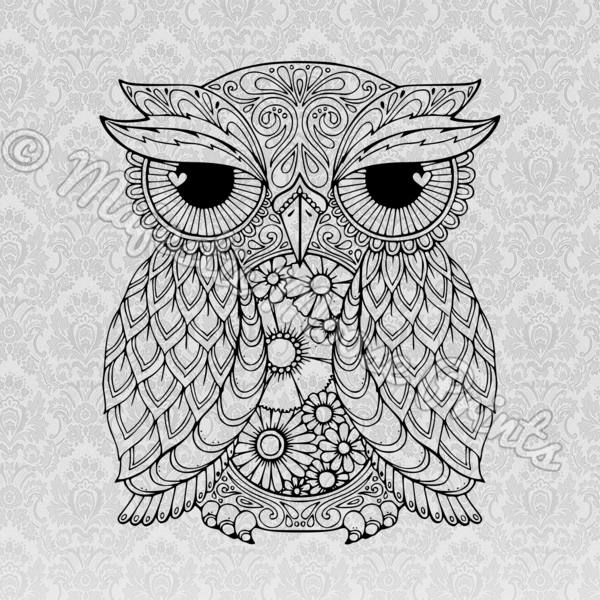 Ornate Owl SVG   SVG Files for Cricut   Owl coloring pages ...