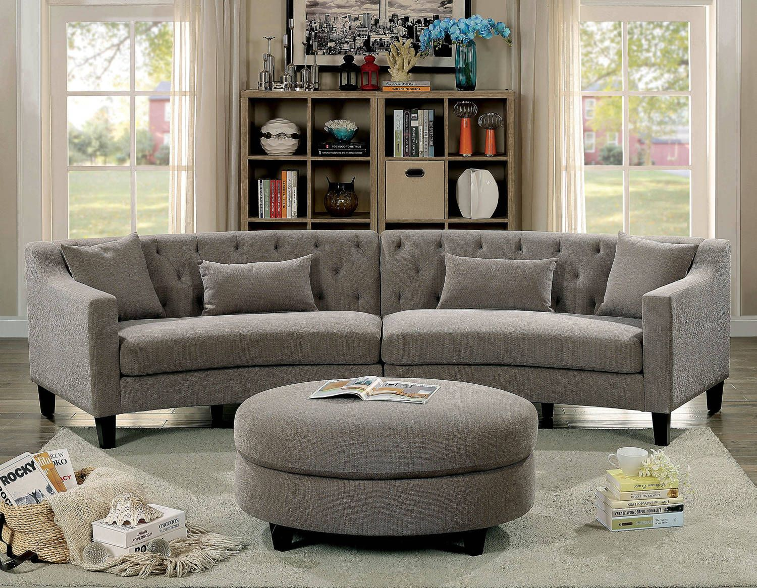 furniture of america sarin sectional and ottoman grey fabric rh pinterest com