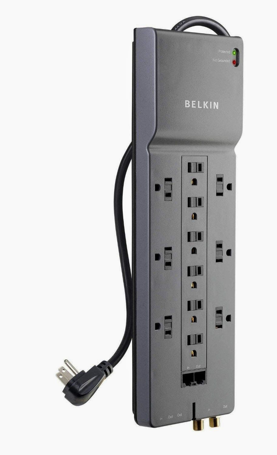 Hot Deal Belkin 12 Outlet Home Office Surge Protector With Phone Ethernet Coaxial Protection And Extended Cord Surge Protectors Surge Protector Home Protection