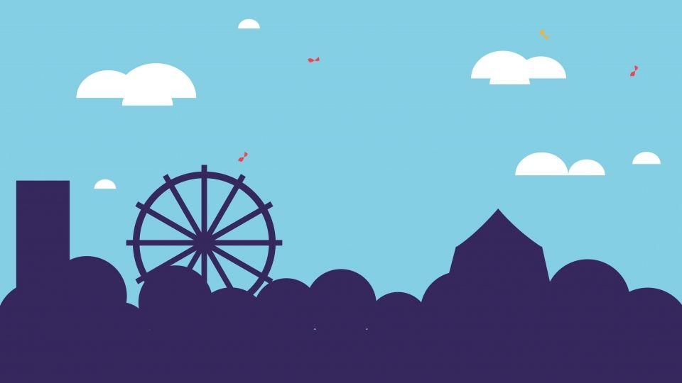 تصميم بسيط الكرتون خلفية ملاهي Simple Cartoon Background Design Design