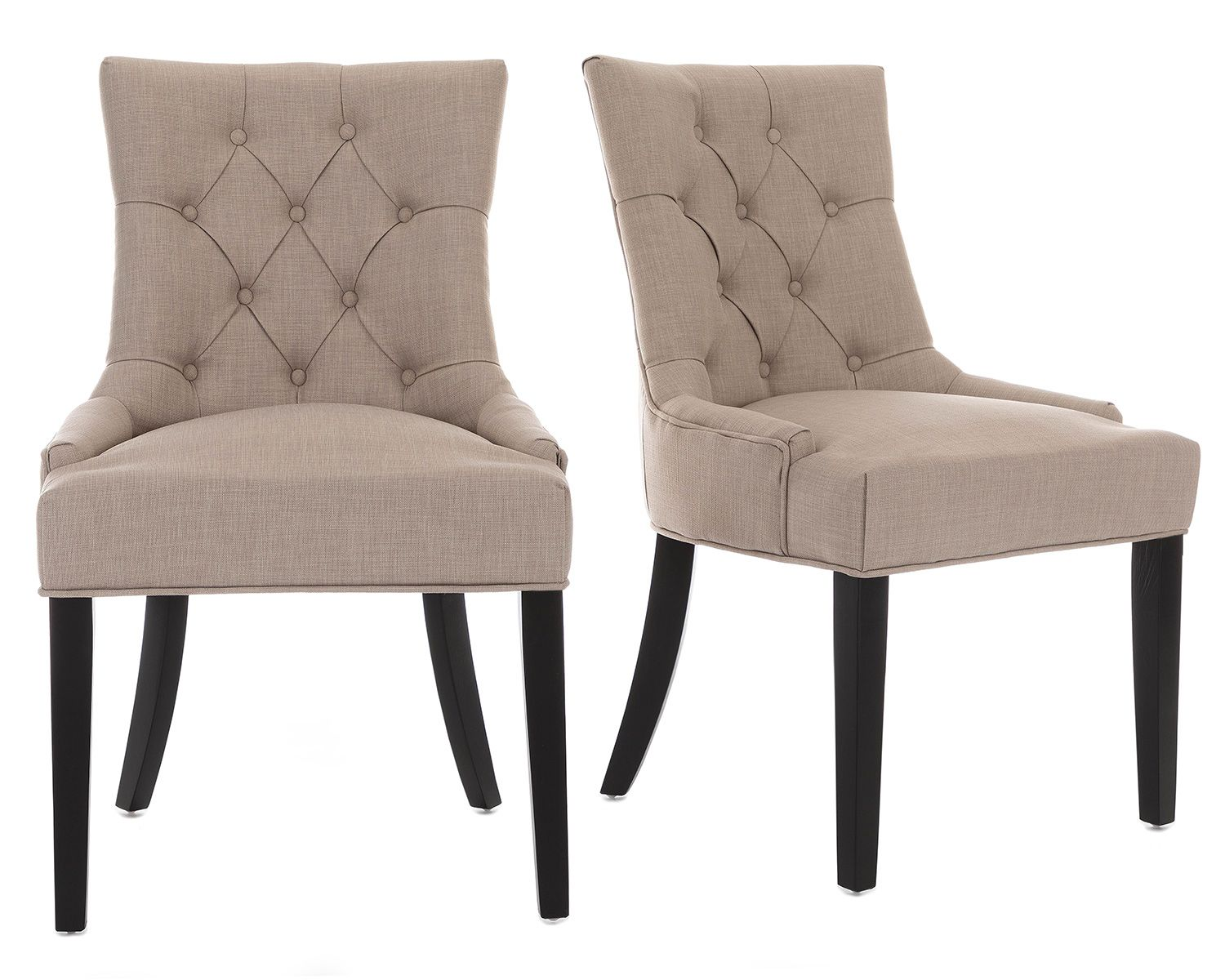 Verona Dining Chair In Cream Linen With Black Legs Upholstered