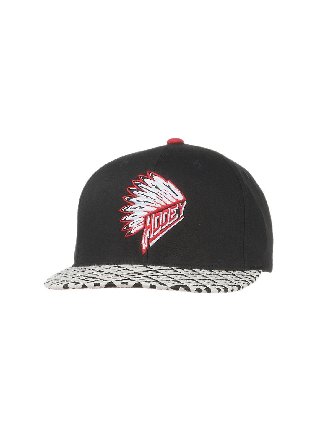 more photos 77311 849ca HOOey Black with Aztec Print Brim and Red Chief Headdress Logo Snap Back Cap    Cavender s