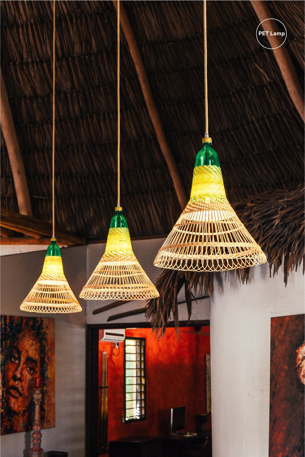 A Tall Thatched Ceiling Of A Hotel Lit By Pet Lamp Pendant Lights In 2020 Hotel Light Hanging Lights Lights