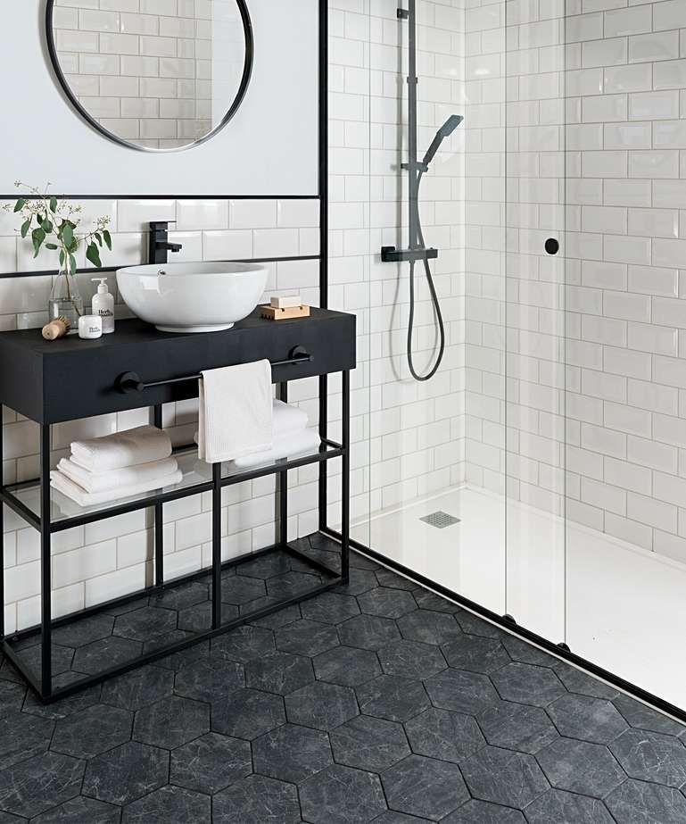 Bistro™ Black Hexagon Tile in 2020 Black bathroom floor