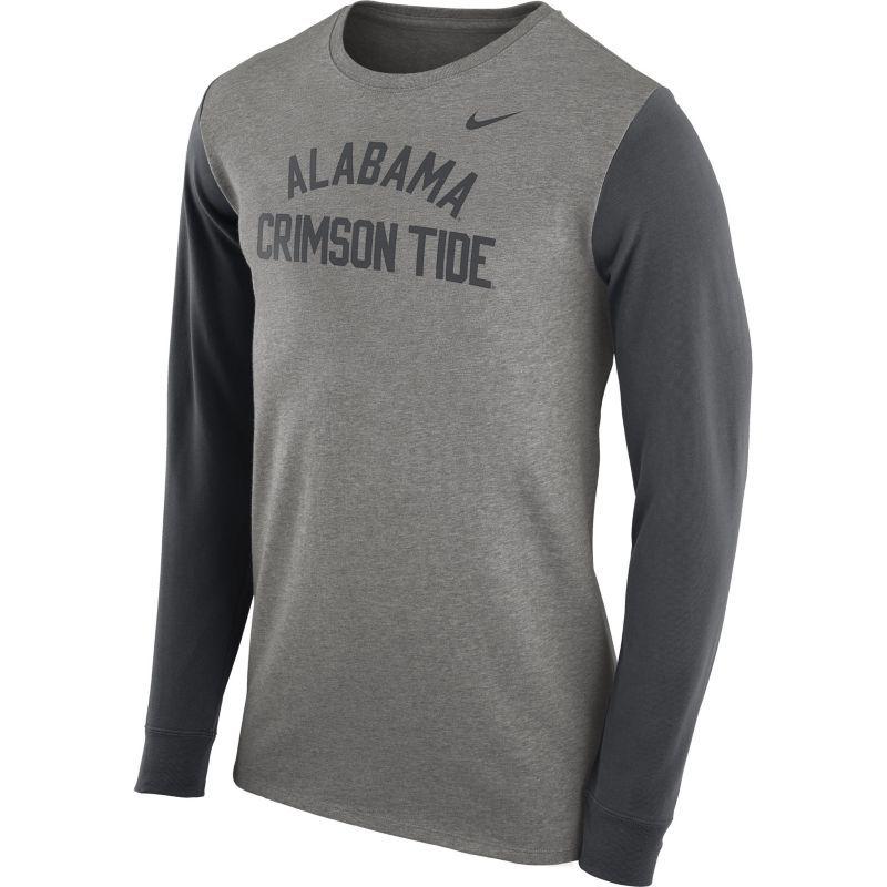 0afd7e5627a Nike Men s Alabama Crimson Tide Grey Heavyweight Elevated Essentials Long  Sleeve Shirt