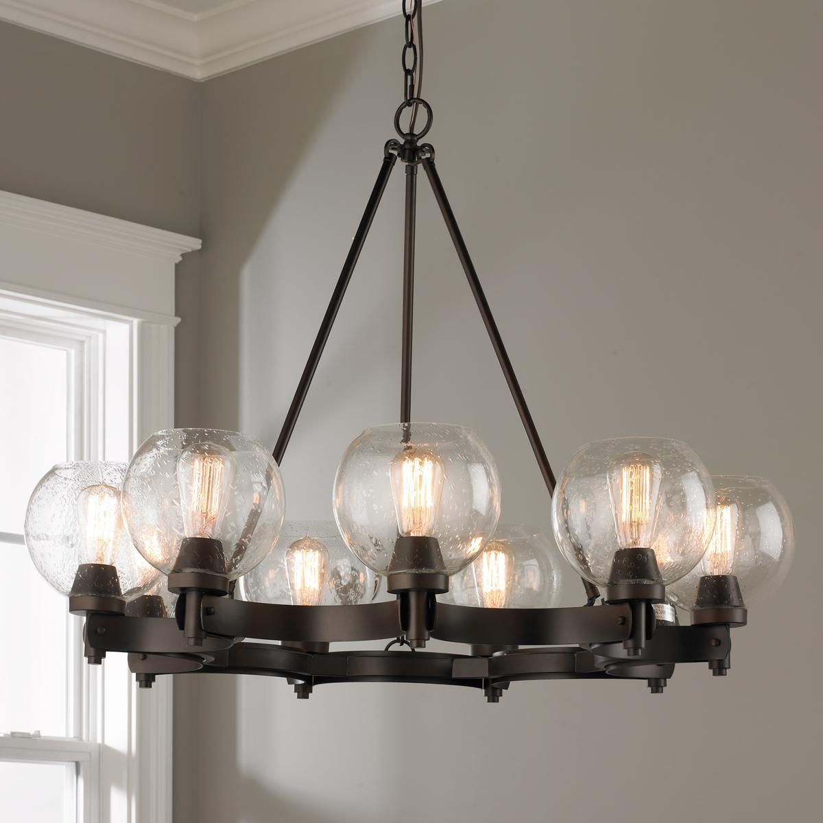 Rustic Seeded Globe Chandelier - 9 Light Possibly for the Living ...