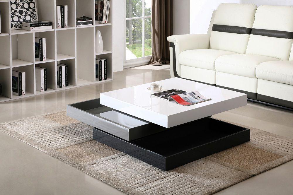 Madison White Grey Black 360 Degrees Motion Storage Coffee Table