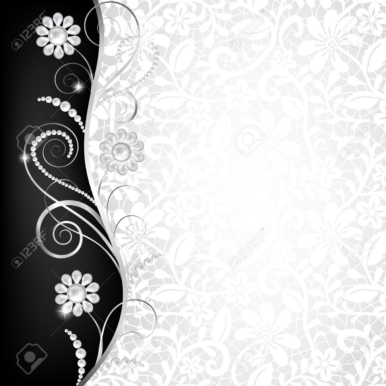 Jewelry Border On White Lace Background Invitation Card Royalty
