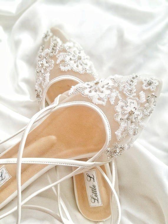 Wedding Shoes  Transparent Flower White Lace Rhinestone Ivory   Etsy