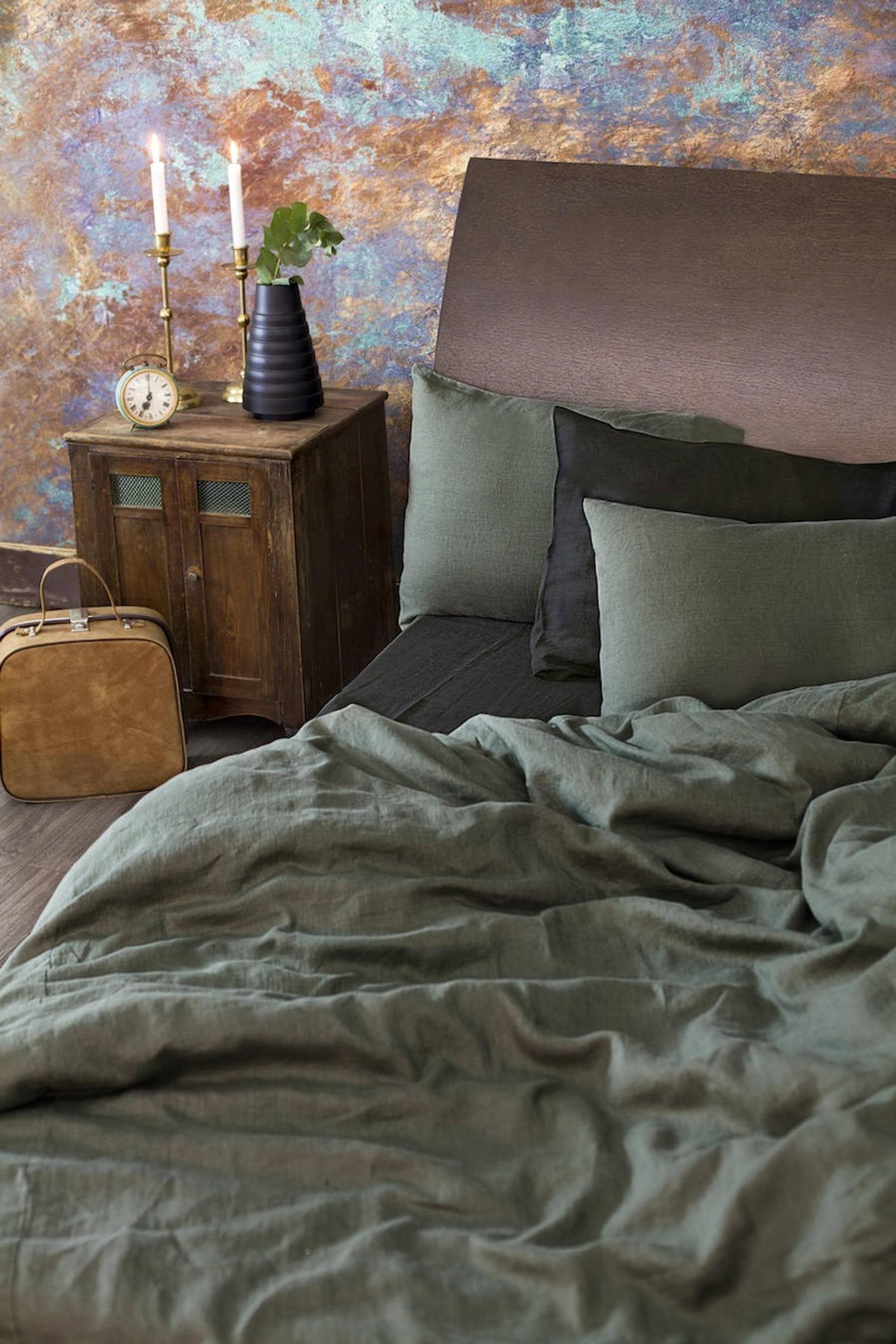 Photo of Linen Duvet Cover in Moss Green in Queen, King sizes