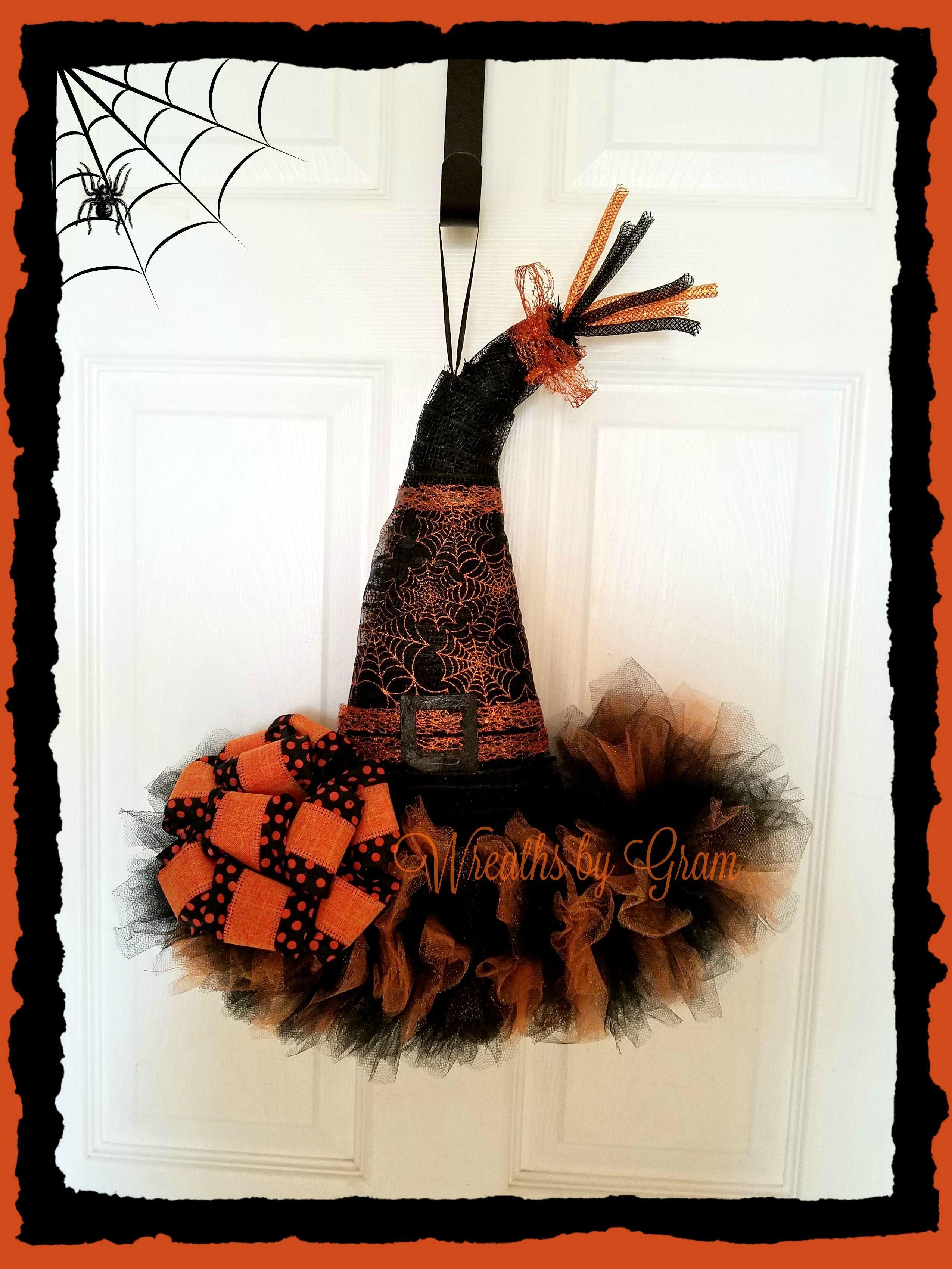 Witch Hat Wreath - Witches Hat Door Hanger - Halloween