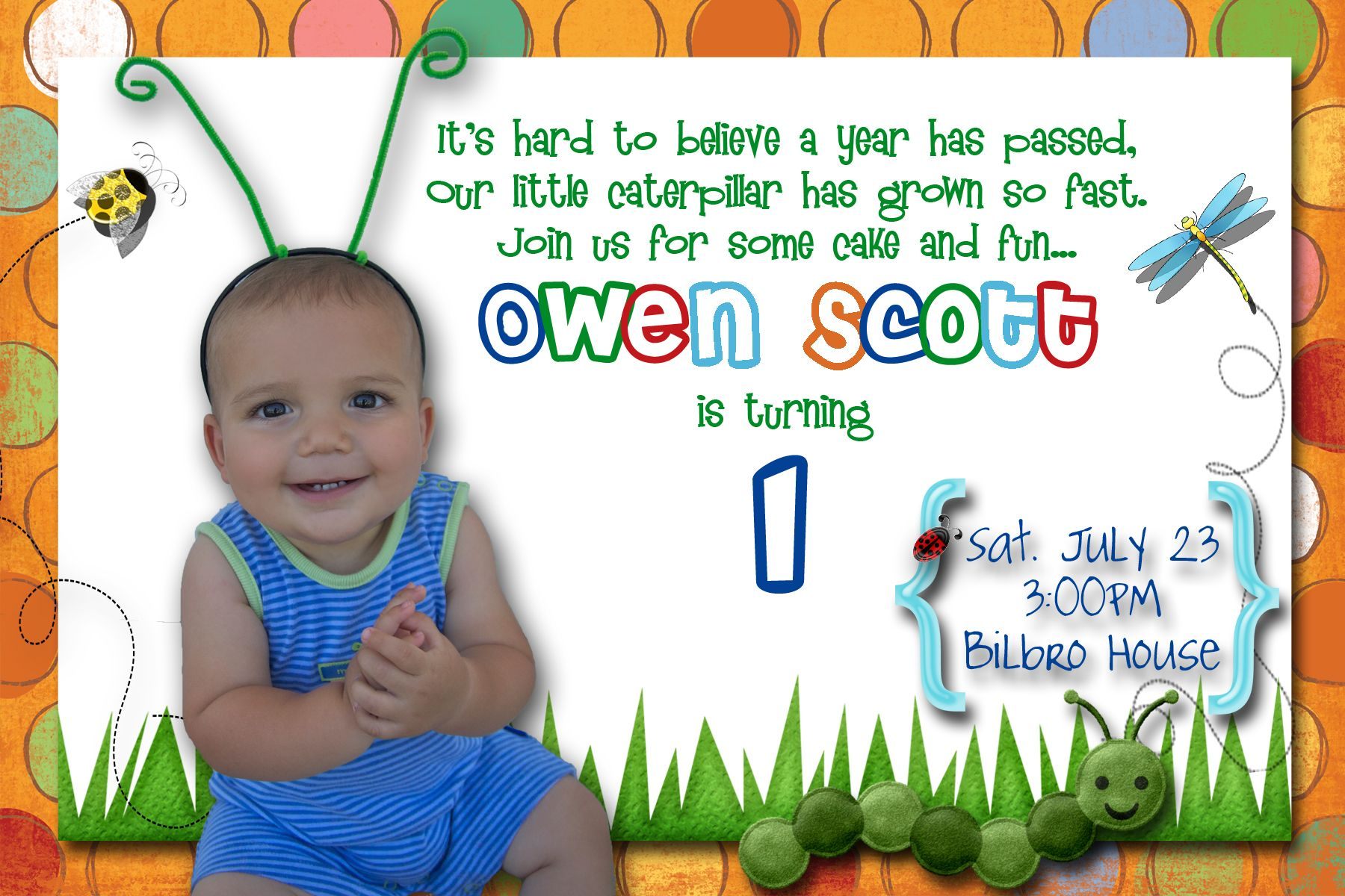 Bug birthday theme caterpillar bug themed birthday party brady first birthday party invitation ideas bookmarktalkfo Image collections