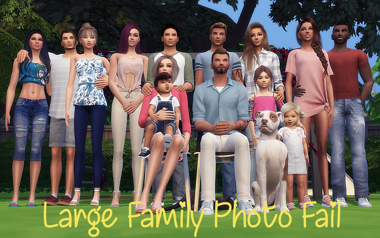 Sim plyreality large family photo fail pose pack 3 pose packs containing i group pose each 14 sims 1 adult cat 1 adult lg dog okay so it wasnt a