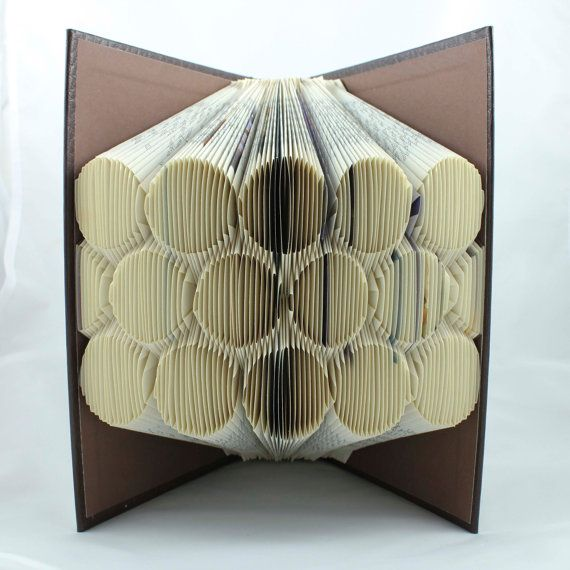 circles folded upcycled book art sculpture by. Black Bedroom Furniture Sets. Home Design Ideas