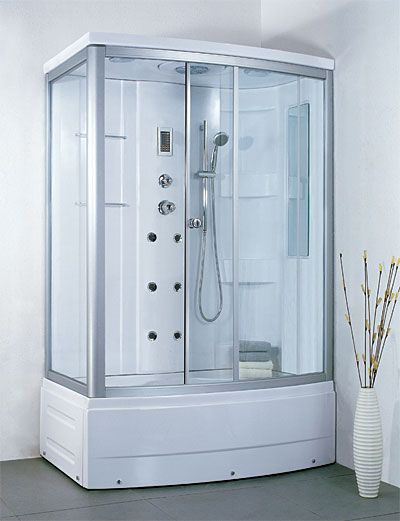 completely enclosed shower enclosure LineaAqua Jersey 56 x 34 Shower  Enclosure Rectangle, 6 Body Sprays