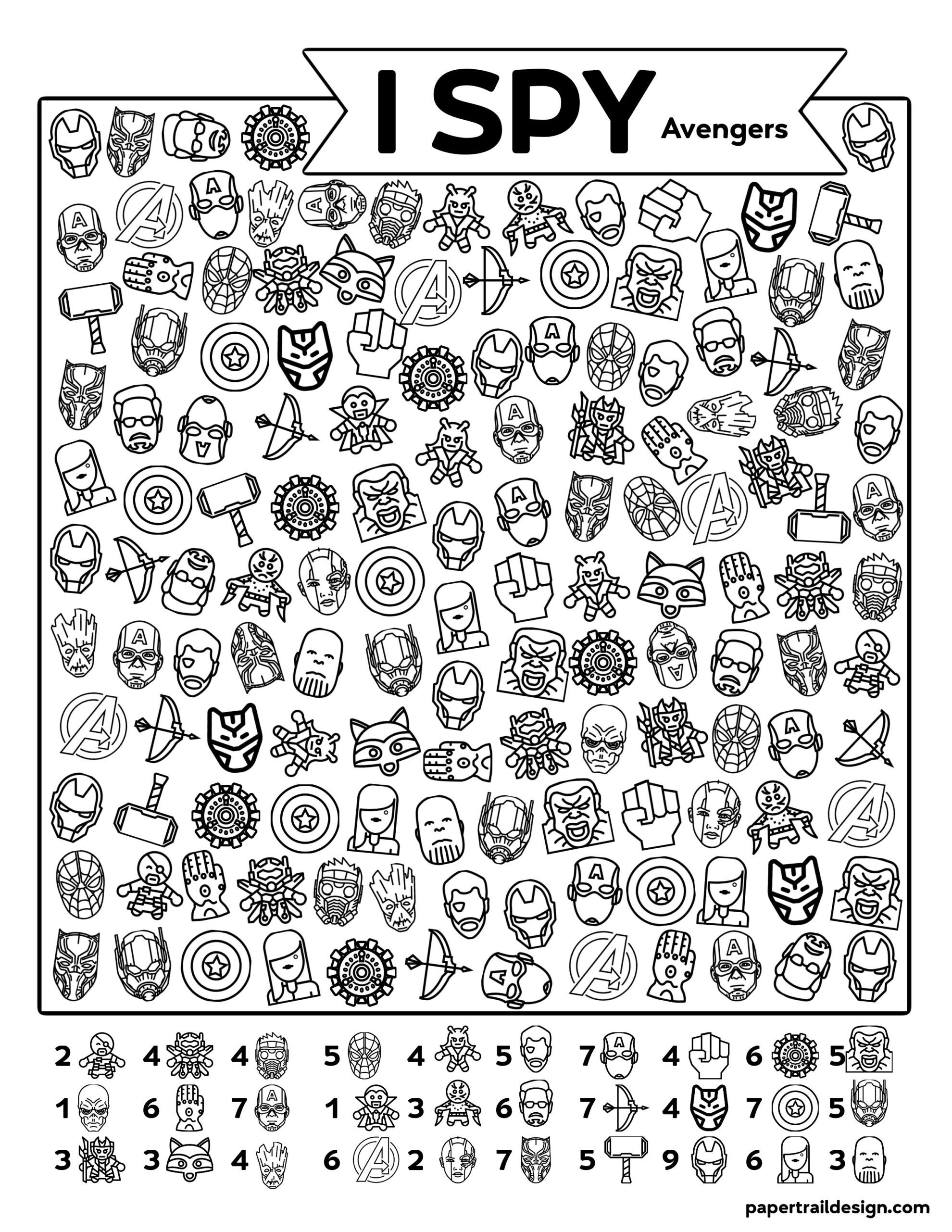 Free Printable I Spy Avengers Activity