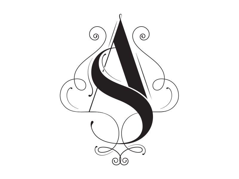 A S Monogram Floral Logo Design Wedding Logo Design Monogram Logo Design