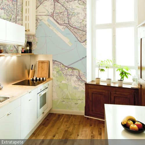 Mustertapete mit Kartenmotiv - fototapete für küchenrückwand