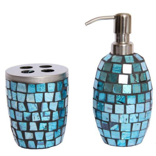 Incroyable Apartments · Turquoise Mosaic Glass Bathroom Accessory Set ...
