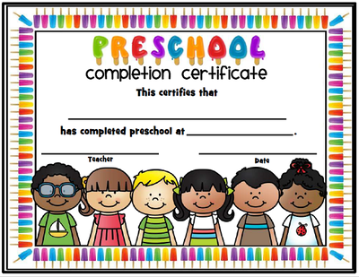 end of the year completion certificates - preschool thru fifth