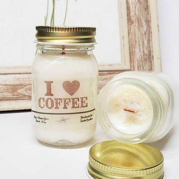 I Love Coffee Personalized Wood Wick Mason Jar Candle ...