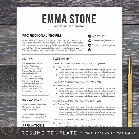 Resume Template - CV Template for Word, Mac Pages, Professional ...