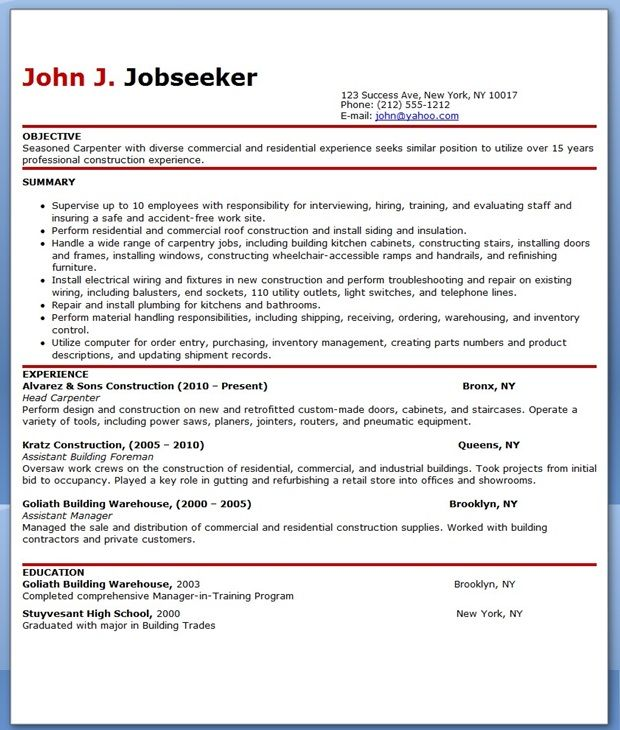 free carpenter resume templates - Carpenter Resume Sample
