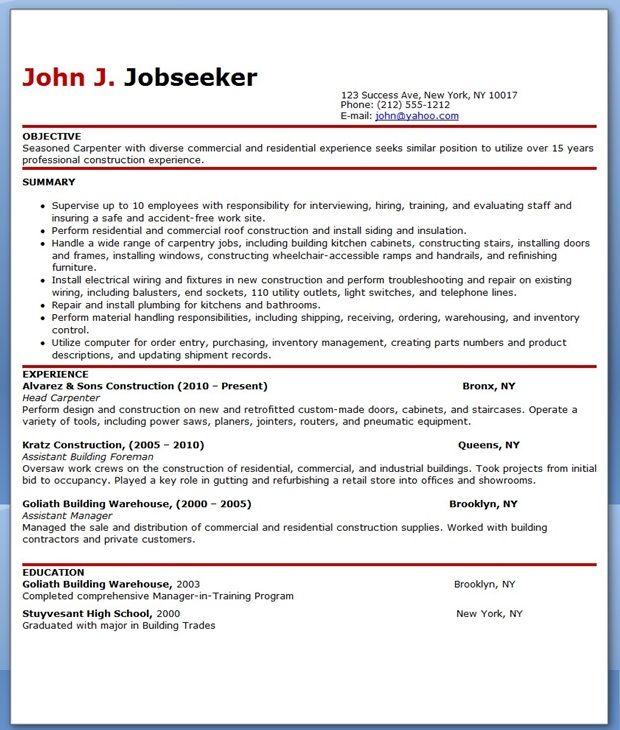 Free Carpenter Resume Templates Resume Downloads Resume Templates Resume Design Template Resume Design Creative