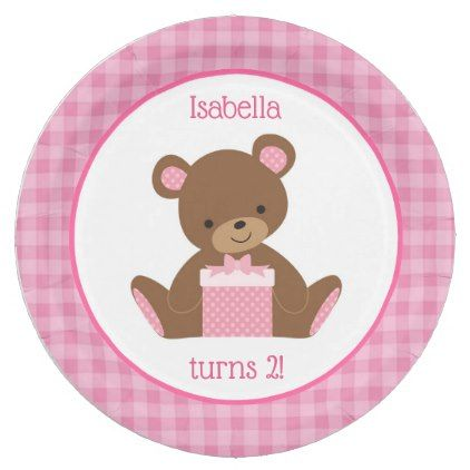 sc 1 st  Pinterest & Teddy Bear Pink Gingham Paper Plates   Pink gingham