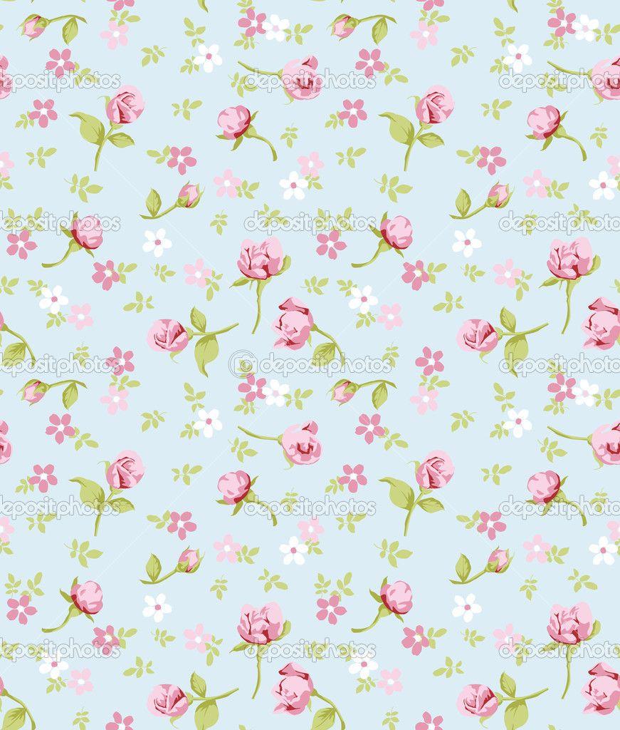 vintage flower seamless pattern background � stock vector